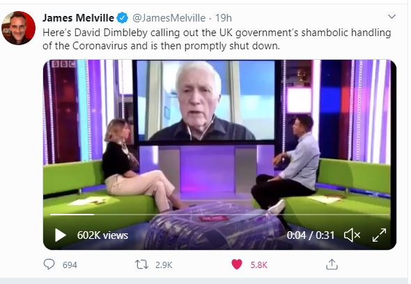 David Dimbleby being silenced on the One Show